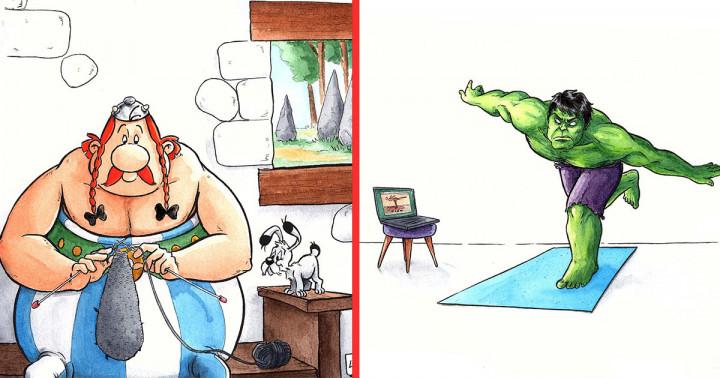 14 illusztráció, mely bemutatja, hogy mit csinálnak a mozihősök a karantén alatt