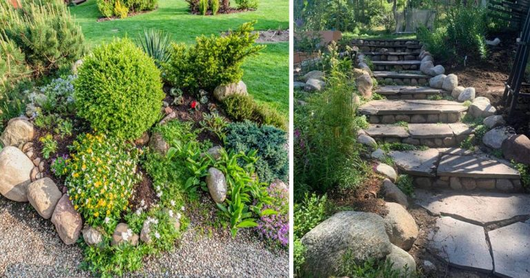 20 nagyszerű ötlet, hogyan dobjuk fel a kertünket különböző méretű és színű kövek segítségével